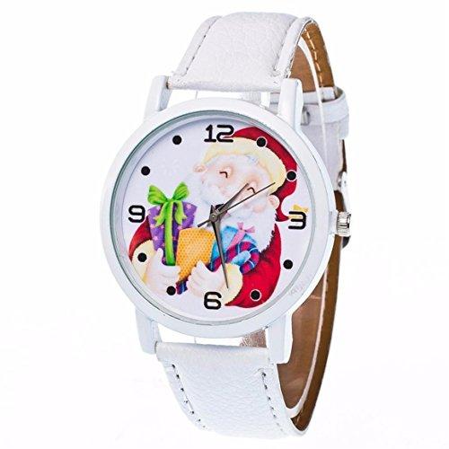 Santa Claus Uhren,Moonuy Mode Weihnachten ältere Muster Uhren Neue Stil Leder Band Analog Quarz Vogue Präzise Bewegung Uhren (Weiß) (Adidas Weiß Herren Uhr)