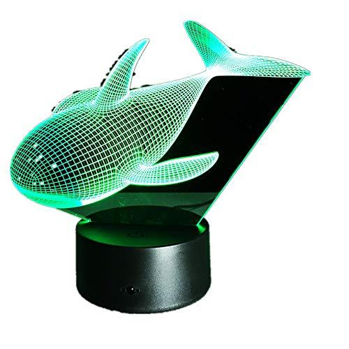 WangZJ 3d Illusion Nachtlicht/Touch-Taste / 3d optische Schreibtischlampe / 7 Farbe Licht/Mädchen Weihnachten Halloween Geburtstagsgeschenk/Sea Whale