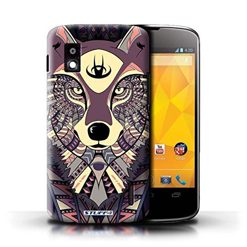 Kobalt® Imprimé Etui / Coque pour LG Nexus 4/E960 / Loup-Cramoisi conception / Série Motif Animaux Aztec Loup-Cramoisi