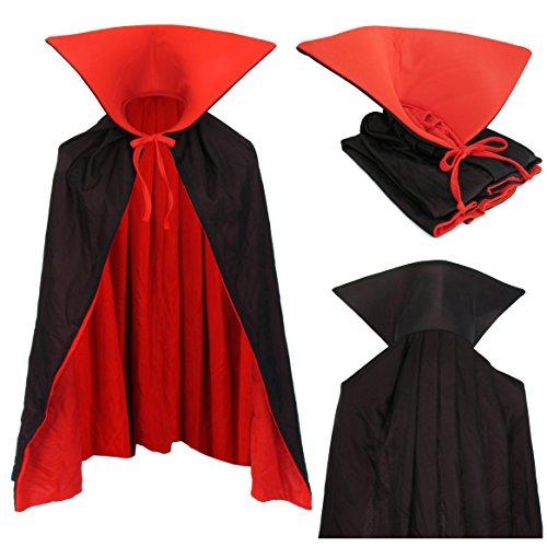 Kostüme Erwachsene Kinder (Vampir Umhang Wendeumhang mit Stehkragen schwarz rot 90cm lang Cape für Kind oder Erwachsene Kostüm Dracula Mantel Familien)