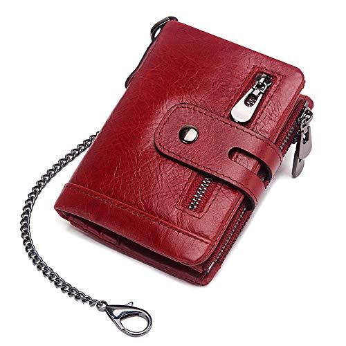 Herren Geldbörse aus Leder, RFID-blockierend, dreifach faltbar, Boshiho Doppelreißverschluss, Münzfach mit Diebstahlschutzkette, rot (Rot) - BOSHIHO LEATHER-WALLET-QY070R -