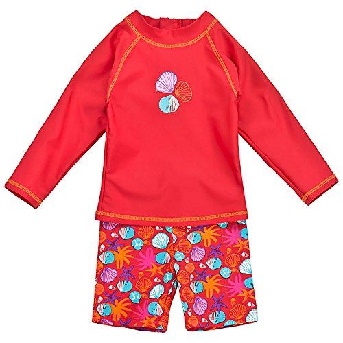 Landora®: Baby- / Kleinkinder-Badebekleidung langärmliges 2er Set in rot; Größe 62/68