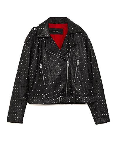 Zara Women's Studded Leather Biker Jacket 4720/021