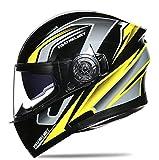 FEFCK Casco da Moto Casco Modulare Integrale Flip Acrobazia Doppia Lente Quattro Stagioni Unisex Traspirante Anticaduta Yellow L