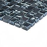 Fliesen Mosaik Mosaikfliese Bad Küche Glas Stein Mix grau schwarz 8mm Neu #047