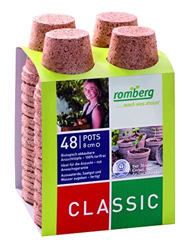 Romberg Anzuchttöpfe Classic rund ø 8 cm (48 Stück, biologisch abbaubar, torffrei, einfache Anwendung) 10091108