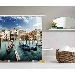LZHsunni88 Italian Historic Decor Shower Curtain Set by, Gondolas Venetian Adriatic Lagoon Venezia Photo, Bathroom Accessories, 75 inches Long