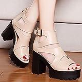 Jqdyl High Heels Sommer Sandalen Weibliche Schuhe mit Hohen Absätzen mit Dicken Sohlen Dicke Wasserdichte Schnalle Wilde Frauen Schuhe, 39, Beige