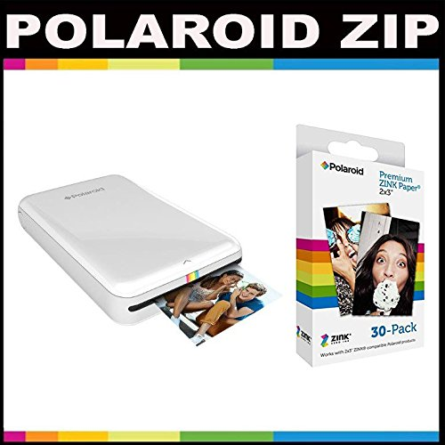 Polaroid Zip Mobile Printer Zink Zero Ink Printing Technology - With Polaroid 2x3 Inch Premium Zink Photo Paper (30 Sheets)- White