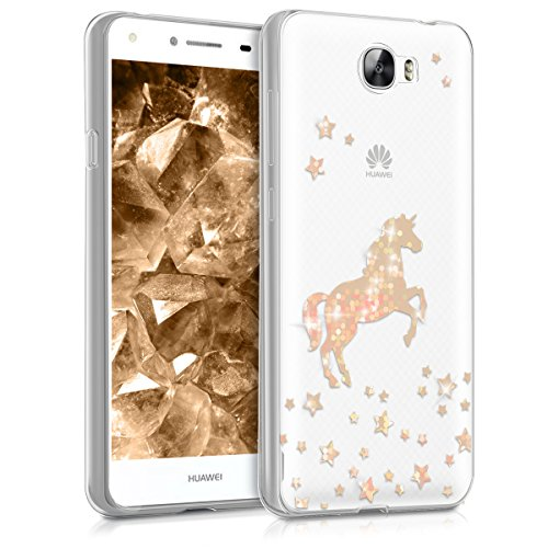 kwmobile Hülle für Huawei Y6 II Compact (2016) - TPU Silikon Backcover Case Handy Schutzhülle - Cover klar Einhorn Design Rosegold Transparent