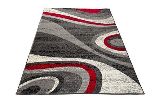 Carpeto Teppich Modern Designer Wellen Muster Meliert In Grau, Rot - ÖKO Tex (220 x 300 cm)