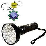 HQRP Linterna 100 LED UV Ultravioleta 390 nM Antorcha lámpara con amplia área de cobertura para iluminación, caza de escorpiones más HQRP Medidor del sol