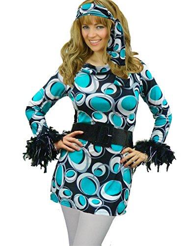 Yummy Bee - 60er 70er Hippie Disco Mod Blumenkind Karneval Fasching Kostüm + Strumpfhose Damen Größe 34 - 44 (36)