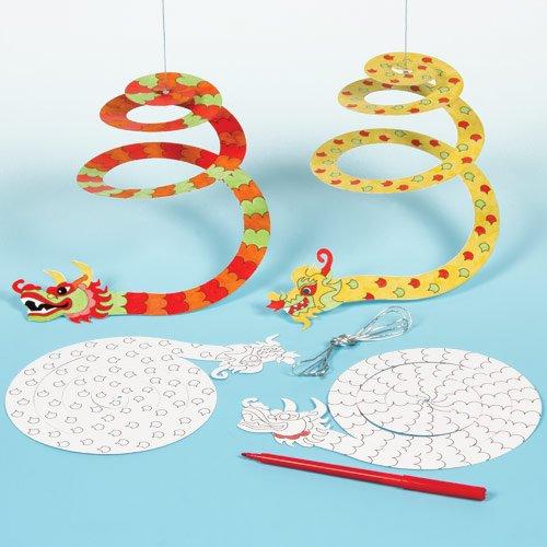 Spiral-Mobiles 'Drache' zum Ausmalen für Kinder - Dokoration für Kinderzimmer - Chinesischer Drache (10 Stück)