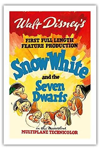 Walt Disneys Schneewittchen und die sieben Zwerge - Erste abendfüllende Produktion - Vintage Retro Film Plakat c.1937 - Premium 290gsm Giclée Kunstdruck - 61cm x 91cm