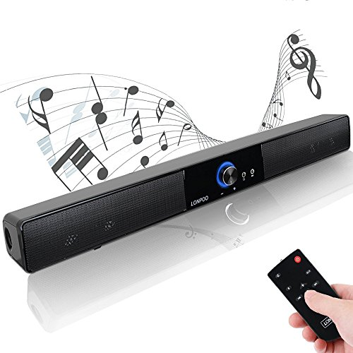 LONPOO 20-inch Sleek PC Soundbar Bluetooth Lautsprecher (USB/AC Power,10w, 40mm*4 Speaker mit Fernbedienung) Für Small TV und Computers/ Laptop/ Smartphones