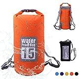 Wasserdichte Tasche, Dry Bag Wasserdichter Packsack Trockensack, Wasserdichte Beutel mit Wasserdichter Handybeutel und lang Verstellbarer Schultergurt, 5L/10L/15L/20L, Für Ruder- und Paddeltouren / Boot und Kajak/ Rafting Angeln / Camping und Snowboarden/ ideal zum Speichern von Mobiltelefonen/ Schuhe Super Wasserdicht (Orange, 15L)