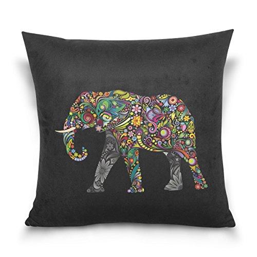 Use7 Funda de Almohada Decorativa, Funda de cojín Cuadrada, Mandala India Elefante Negro, Funda de Almohada para sofá o Cama, 2 Lados, Tela, 45 x 45cm/18 x 18 Inches