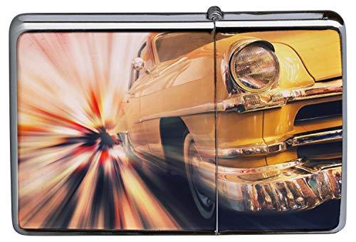 LEotiE SINCE 2004 Chrom Sturm Feuerzeug Benzinfeuerzeug aus Metall Aufladbar Winddicht für Küche Grill Zigaretten Kerzen Bedruckt Garage Oldtimer Tankstelle
