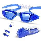 Occhialini da Nuoto-Antinebbia,Ermetico,Regolabile,Protezione UV per Uomini e Donne con Sostituibile Ponte del Naso Medio,Dare via Clip del Naso e Tappi per le Orecchie (blu)