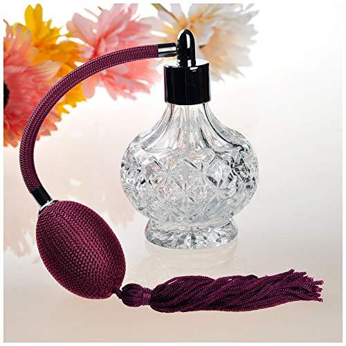 H&D klar Kristall Kunst-Weinlese Stil Leere nachfüllbare Parfüm Zerstäuber lange Quaste Sprühflasche 80ml - Kristall Parfüm Duft Flasche