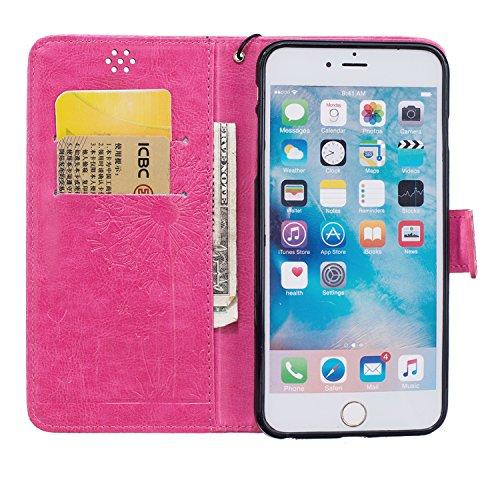 iPhone 6Plus/6S Plus 14cm Étui portefeuille en cuir PU couverture de livre, newstars léger Étui à rabat pour Téléphone portable Motif floral Mobile Protéger Peau Étui en cuir pour Apple iPhone 6Plu Dandelion Rose Red