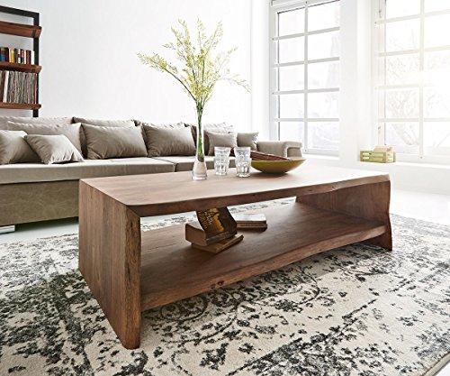 Wohnzimmertisch Live-Edge Akazie Braun 130x65 cm Baumkante Baumtisch