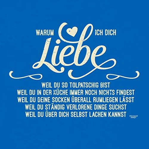 Soreso Design Warum ich Dich Liebe Kissen :+: Romantische Geschenkidee für Frauen und Männer Geschenk Weihnachten Farbe: royal-blau