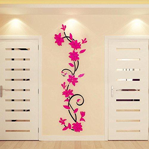 Jamicy DIY 3D Acryl Blume Wand Aufkleber Wohnzimmer Schlafzimmer TV Hintergrund Heimtextilien (Hot Pink)