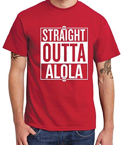 -- Straight Outta Alola / Sonne und Mond -- Boys T-Shirt Rot