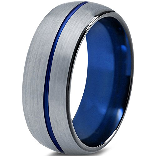 Tungsten Wedding Band Ring 8mm for Men Women Blue Black Grey Grey Dome Brushed Polished Size 70 (22.3) -