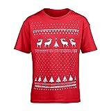 Kinder Rentier Weihnachts-T-Shirt - Rot (XL Age 11 - 13)