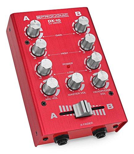 Pronomic DX-10R DJ Mixer (Kompakter 2-Kanal-DJ-Mixer mit zwei Line-Eingängen und 2-Band Equalizer, Mikrofoneingang mit separatem Laustärkeregler, Master-, Record- und Kopfhörer-Ausgang) Rot