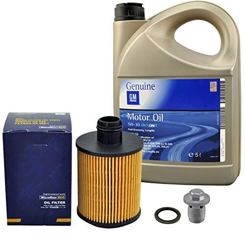 Inspektionspaket SCT Ölfilter 5 Liter Original GM Öl Dexos 2 Ölablassschraube