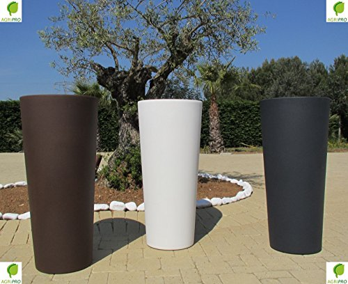 Veca - Maceta grande de color blanca, fabricada en resina, modelo Genesis, con apartado para ocultar...