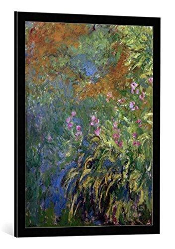 kunst für alle Bild mit Bilder-Rahmen: Claude Monet Iris - dekorativer Kunstdruck, hochwertig gerahmt, 60x80 cm, Schwarz/Kante grau -
