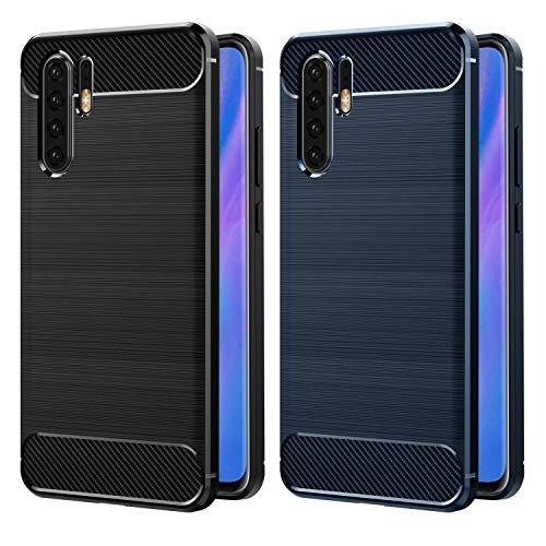VGUARD [2 Stücke] Hülle Kompatibel für Huawei P30 Pro, Carbon Faser Case Tasche Schutzhülle mit Stoßdämpfung Soft Flex TPU Silikon Handyhülle - (Schwarz+Blau)