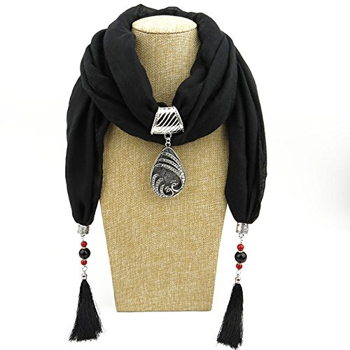 Winter Ethnic Beads Tassel Scarf With Peacock Pendant Fringe Jewelry Long Scarf Necklace For Women