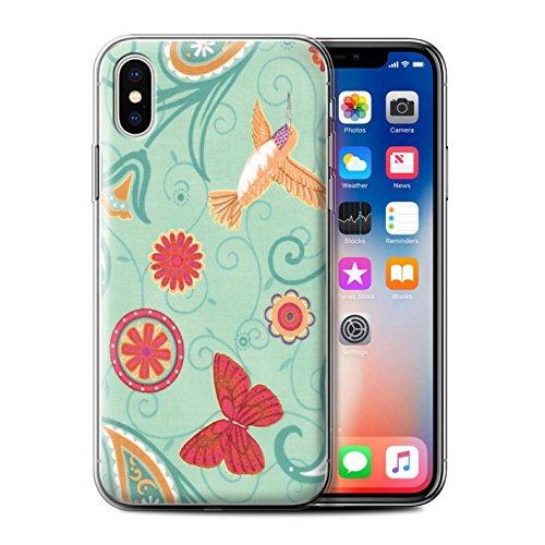 Stuff4 Gel TPU Hülle / Case für Apple iPhone X/10 / Rosa/Rot Muster / Frühlingszeit Kollektion Grün/Rot