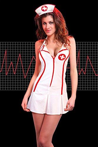 r-dessous Krankenschwester Ärztin Arzt Uniform Damen Kostüm Karneval Mottoparty Nurse Halloween Weiß