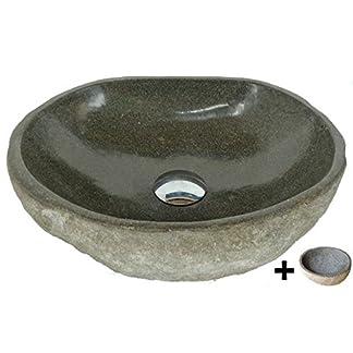 Lavabo en piedra natural, diametro 45 cm + 1 puerta jabón. Elección sobre fotos con dimensiones exactas