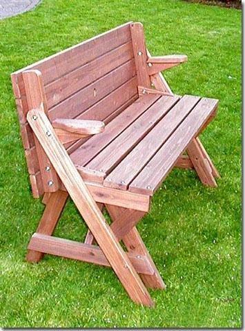 Holzbank Tisch Sitzgarnitur clevere Sache die Kombibank – Gartenbank - 4