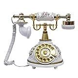 Antikes Telefon, Retro Telefon aus Holz und Metall Telefon mit echter, rotierender Wählscheibe und Metallklingel(Weiß 2)