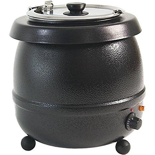 Elektrischer Suppentopf Suppenstation Ø 330 x 360 mm rund 10 Liter Edelstahl Stahl schwarz lackiert 0,435 kW 230 V thermostatische Regelung