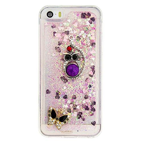 MOONCASE iPhone SE Coque, Glitter Sparkle Bling [Owl] Faux Diamant Dessin Motif Liquide Étui Coque pour iPhone 5 / 5S / SE Soft TPU Gel Souple Case Housse de Protection Or 04 Rose 04
