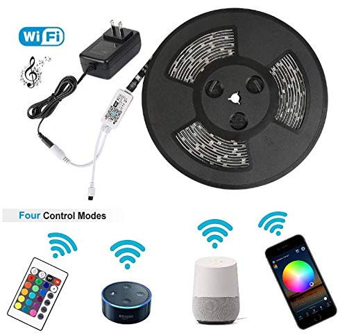 WeCraft - LED Strip 5m Arbeitet mit Amazon Alexa, Google Home, Smart Phone - LED Streifen mit Fernbedienung - LED Lichterkette für Party Musik, Poolbeleuchtung - LED Band 150 LED RGB Strip Full Kit