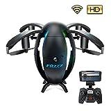 Drohne mit Kamera und Live-Video, UAV, 6-achsiger Gyro Vierkanal Hobby Quadcopter Minidrohne mit Headless-Modus für Beginner, Höhe halten, Headless-Modus, einfach zu steuern, fliegendes Ei, Schwarz