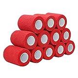 COMOmed Tissus non tissés pansement bandage pansements adhésifs Bandage animal,Bandage auto-adhésif élastique 7.5 cm X4.5m Rouge 12 rouleaux