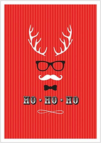(Erhältlich im 1er 4er 8er Set: Ho, Ho, Ho Moderne Coole lustige Hipster Weihnachkarte Klappgrußkarte Gutschein mit Hirschgeweih, Brille, Fliege und Schnurrbart in Rot mit Umschlag (4))