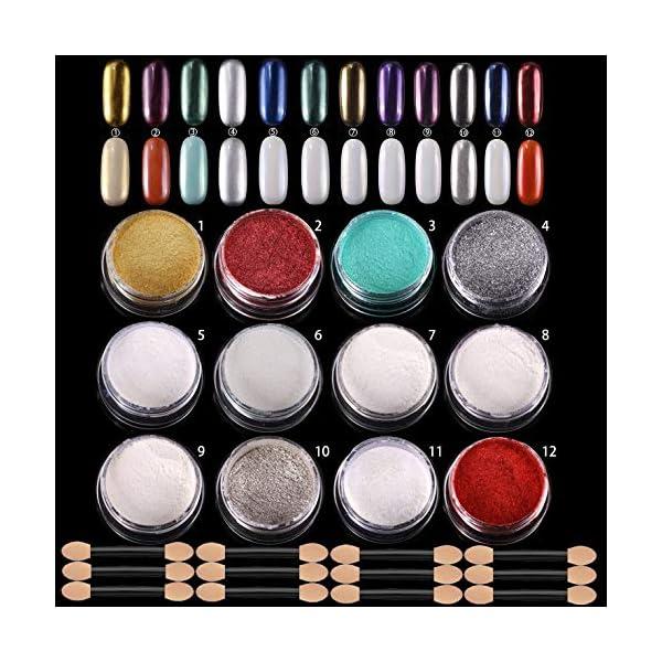 ANDERK 12 cajas Shell Polvo de Perlas Espejo Efecto Cromo Uñas de Sirena, polvo Brillo y Decoración de uñas con 12pcs…